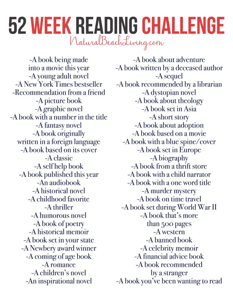 An Epic Reading Challenge Everyone Will Love, 52 Weeks of book ideas perfect for yourself, your family, or a book club. Take the time to enjoy reading again, free printable