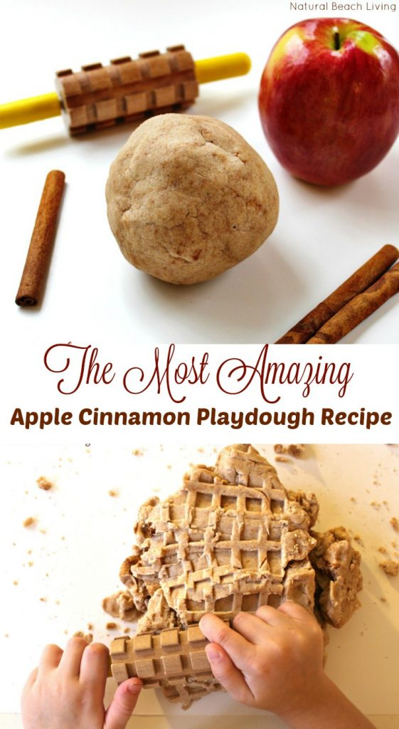The Most Amazing Apple Cinnamon Playdough Recipe, scented sensory play that is great all year