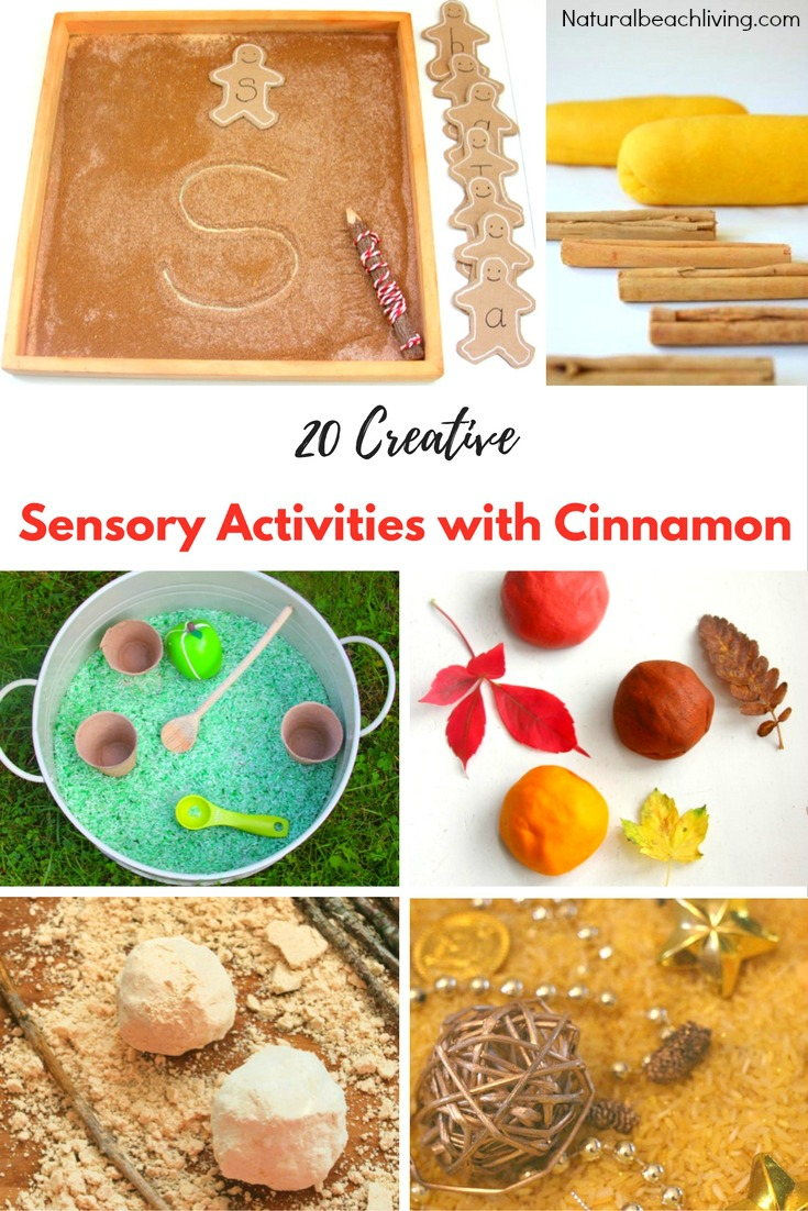 20 Super Creative Sensory Activities with Cinnamon, Amazing Cinnamon Playdough, Apple Pie play dough recipe, benefits of cinnamon sensory activities & MORE