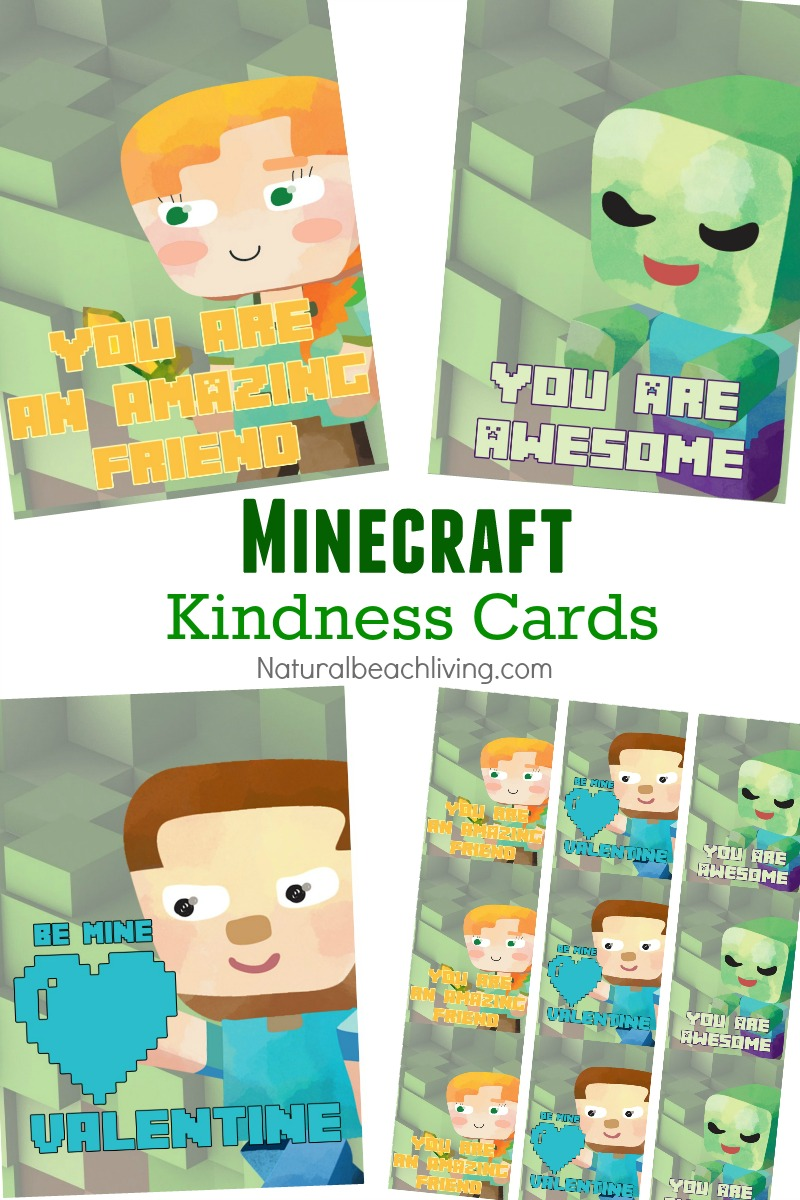 20 Free Valentine's Day Printable Cards That Make Everyone Happy, Non-candy Valentine's Day ideas, Friendship Cards, Minecraft Printables, Free printables