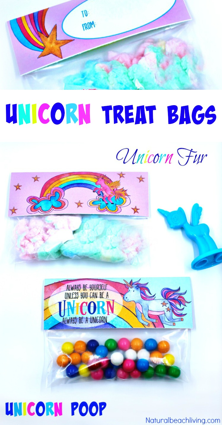 unicorn party ideas - unicorn treat bags, free bag tags