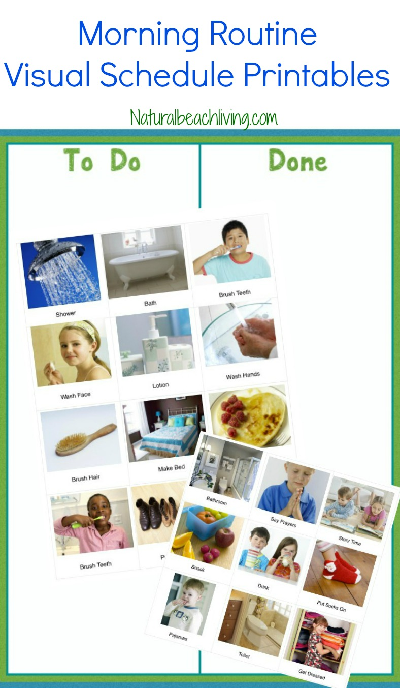 Visual Schedule Printables for Morning Routine and Night Routine, Autism Printables, Perfect visual schedule for toddlers and preschoolers, Special Needs