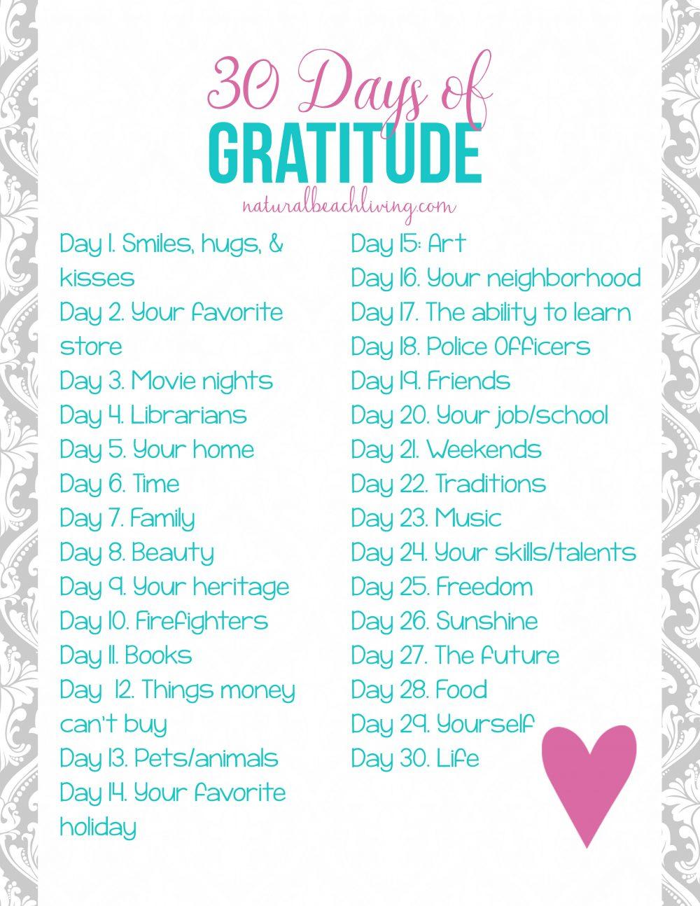 30 Days Daily Gratitude List Printable