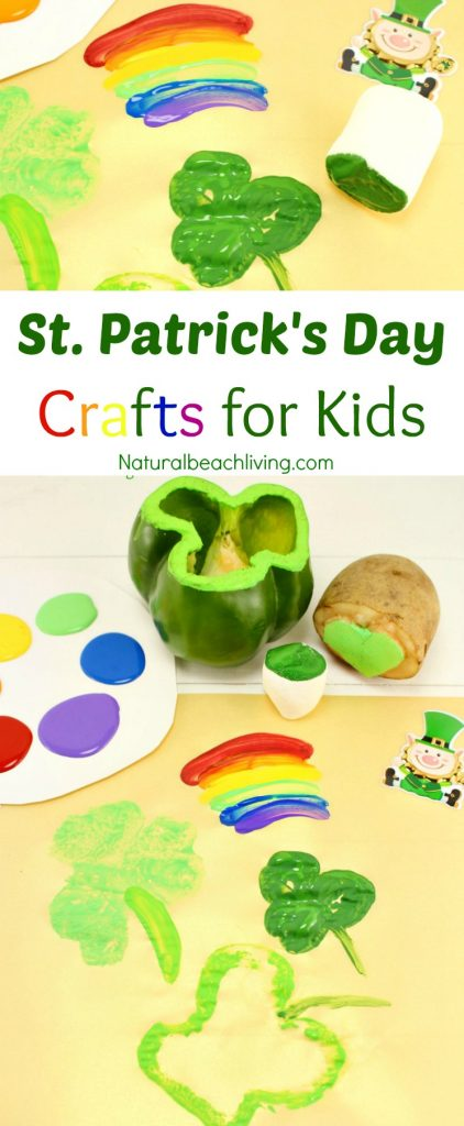 Kindergarten and Preschool St. Patrick's Day Crafts, Shamrock Stamping, Rainbow crafts, Hands on activities for kids, St. Patrick's Day crafts for kids