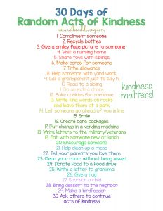 30 Days of Random Acts of Kindness Ideas for Kids