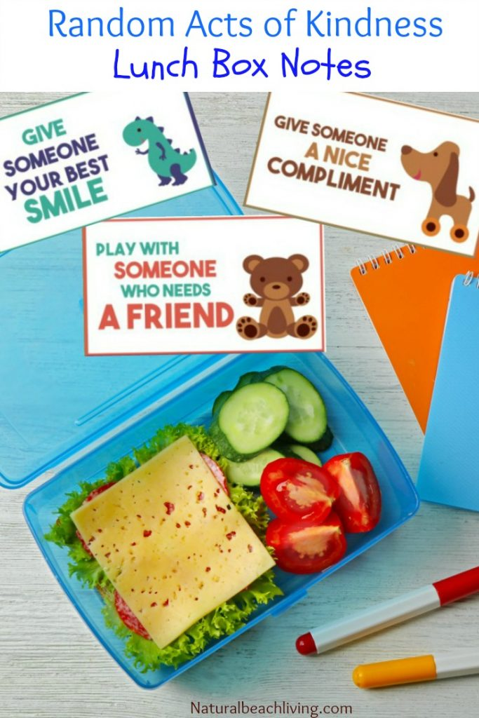 Random Acts of Kindness Ideas for Kids, Free Printable Lunch Box Notes, The Kindness Elves, Kindness books and ideas, Kindness at school, Kids printables