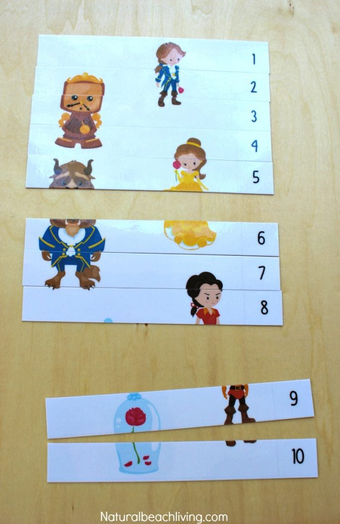 The Perfect Beauty and The Beast Printables for Preschool & Kindergarten, Number Puzzles, Alphabet activities, Word Cards, Cutting practice, Homeschooling