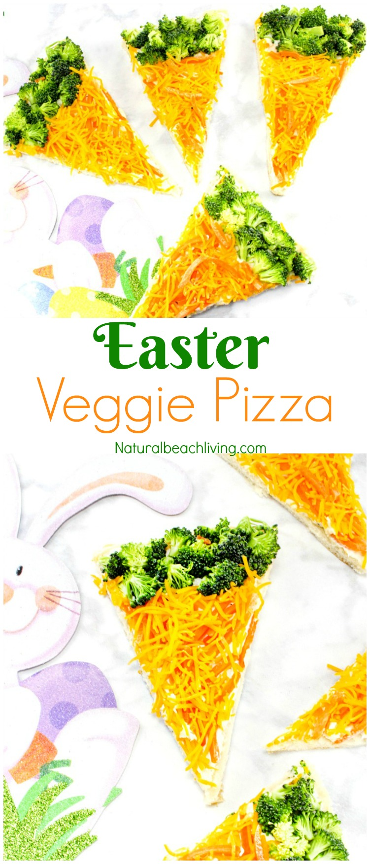 Delicious Quick and Easy Easter Veggie Pizza, Best Veggie Pizza Recipe, So yummy even the kids love this recipe, a Perfect lunch for a garden theme too