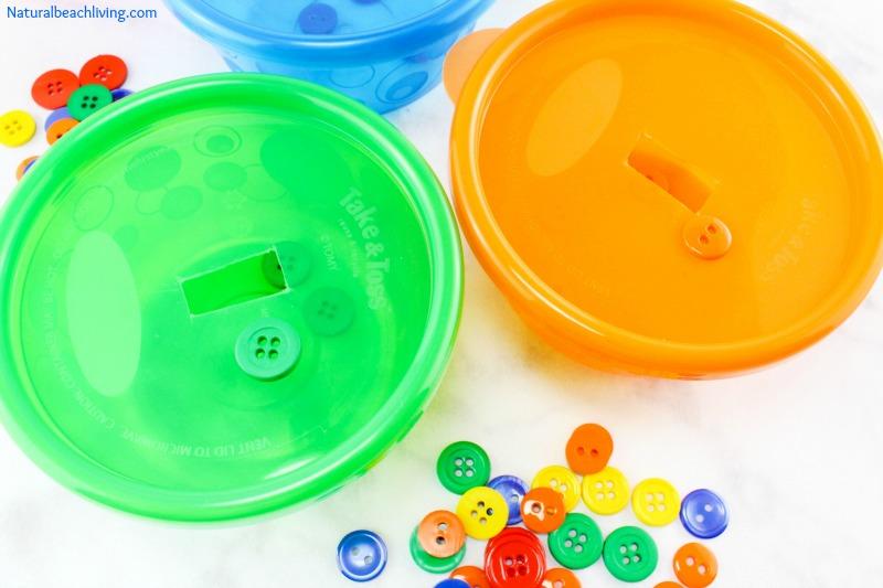 Perfect DIY Color Sorting Activities for Preschoolers and Toddlers, Button Sorting activities Color Sorting, Great for Fine Motor Skills, Sensory, Love it!