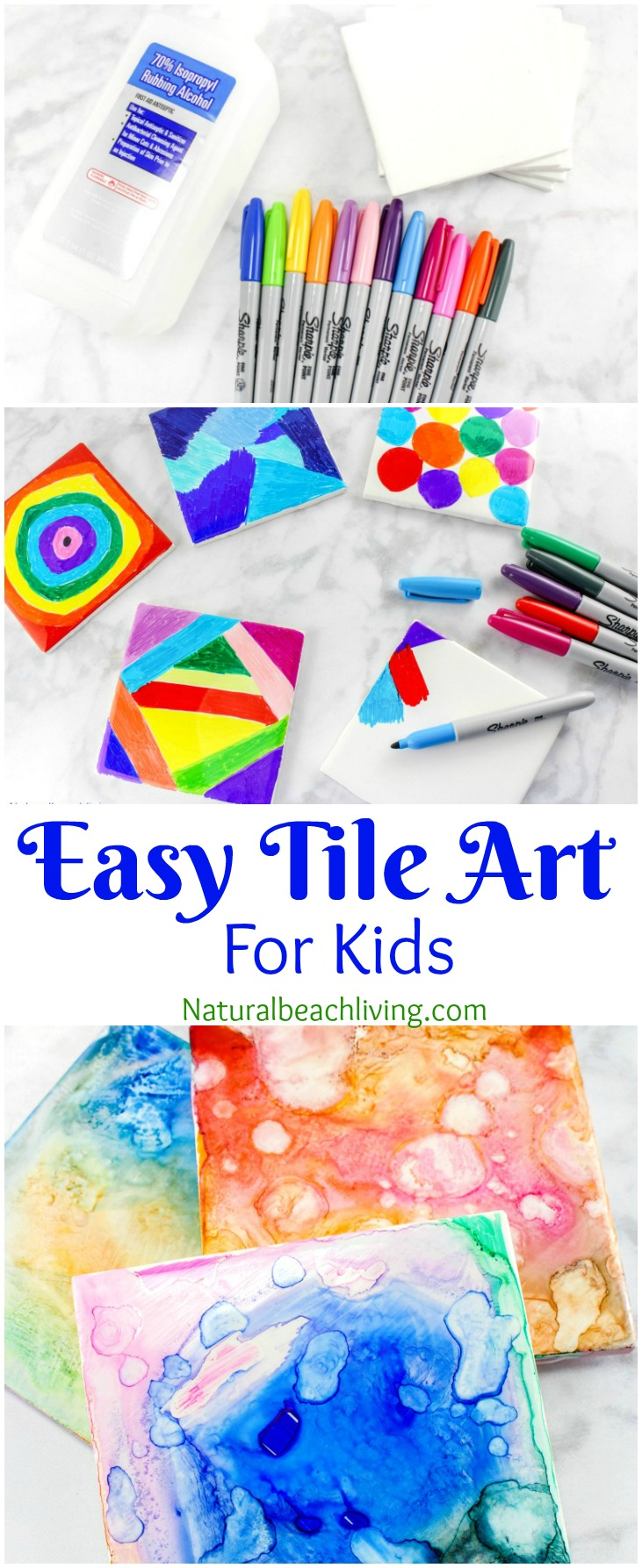 Easy Tile Art for Kids That Everyone Will Enjoy, Sharpie Art is the coolest, perfect art for kids, Fun Art process, Sharpie Crafts, Kid made gifts, Tie Dye #kidsart #kidscrafts #giftidea