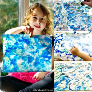 Epic Earth Day Art Activities – Shaving Cream Marbled Paper
