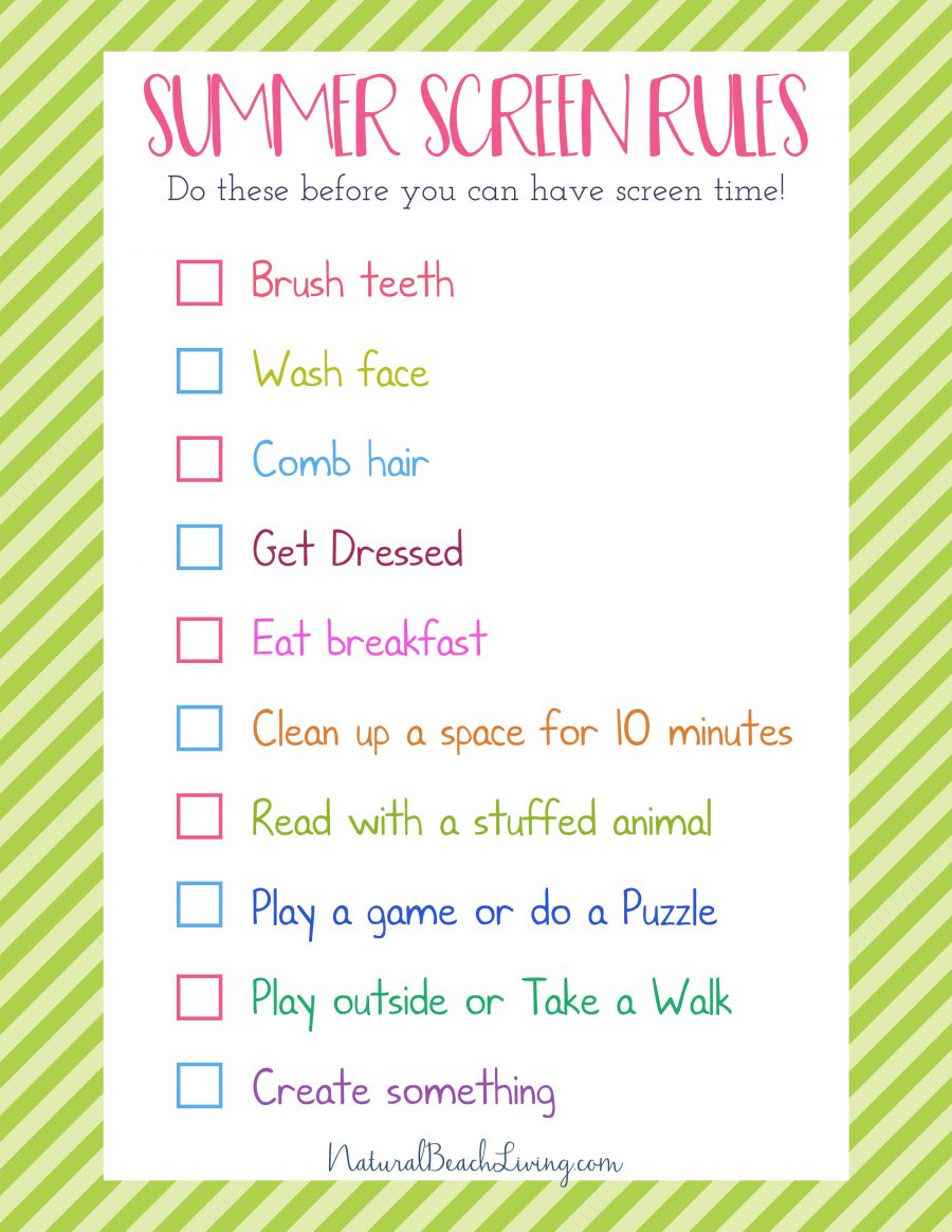 The Perfect Summer Rules for Kids, Screen Free Time, Parenting ideas for a screen free summer, summer activities for kids, TV Free Summer, Free Printables