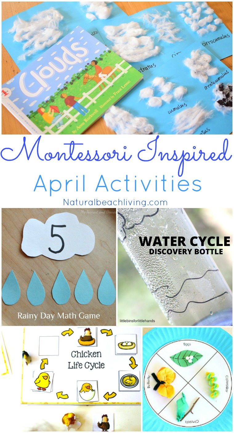 Montessori Themes Preschool Activities for April, April Montessori ideas, Life cycles, Weather Theme Activities, Tray ideas, Earth Day, Spring Activities