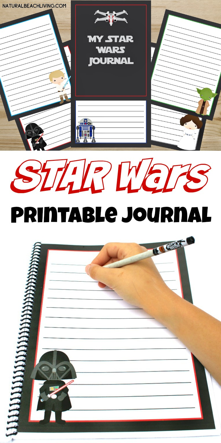 Free Star Wars Printables Journal for Kids, Star Wars Fans love these writing pages, free printables for kids, Journaling, handwriting, and drawing fun
