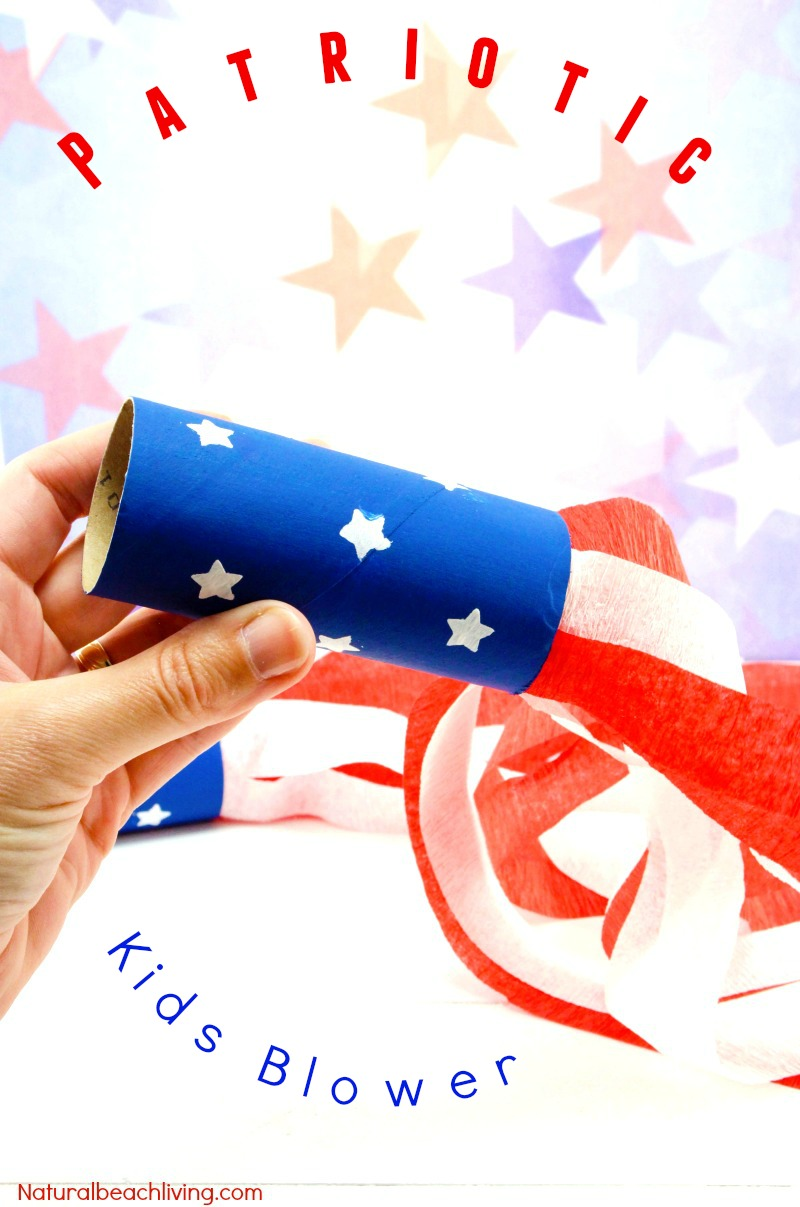 4th of July Craft Idea Patriotic Kids Blower, Patriotic Craft Ideas, Paper Tube Craft, Summer craft and perfect party idea for kids, Fun July 4th Kids Craft