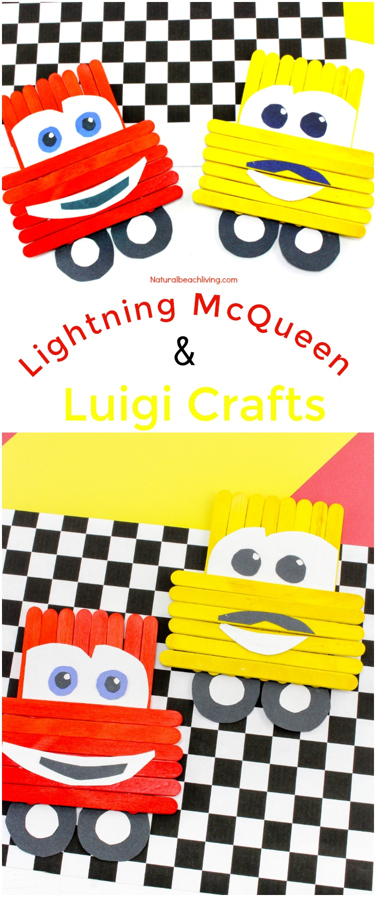 Cars Popsicle Stick Craft, Lightning McQueen and Luigi Craft idea, Cars Theme