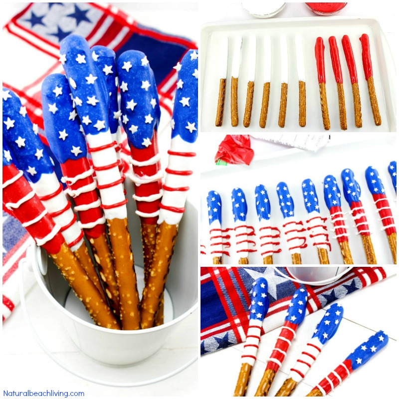 How to Make Chocolate Covered Pretzels Patriotic