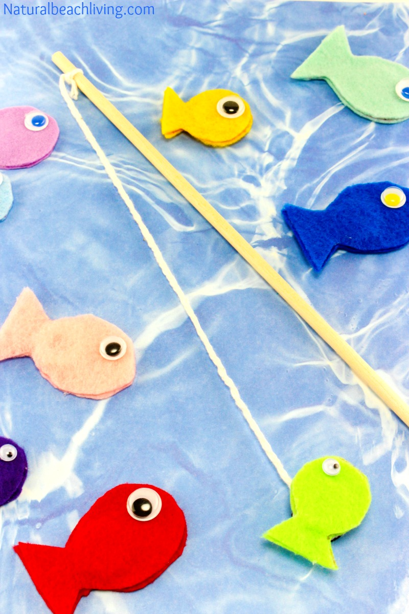 Fun felt diy magnetic fish game for kids natural beach for Fish and game