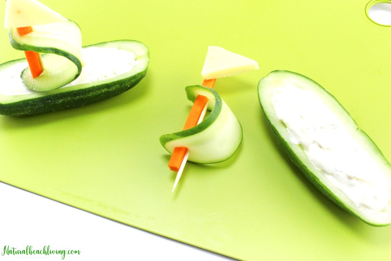 Healthy Cucumber Boat Shaped Snack for Kids, Fun Snacks for Kids, Party food, Beach Recipes, Ocean Theme Party Food, Yummy Summer Recipes for Kids