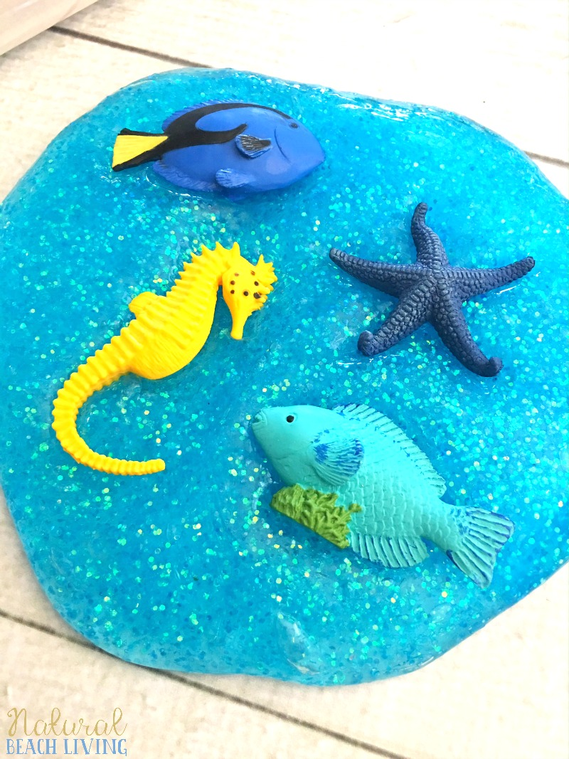 Ocean Theme Recipe for Slime, Jiggly Slime, Under the Sea Theme Activities, How to Make Slime, Perfect Glittery Slime Recipe for Kids, Ocean Activities