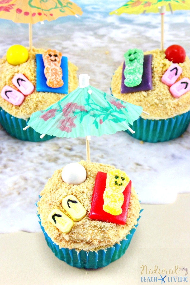 summer themed cupcakes beach day natural beach living