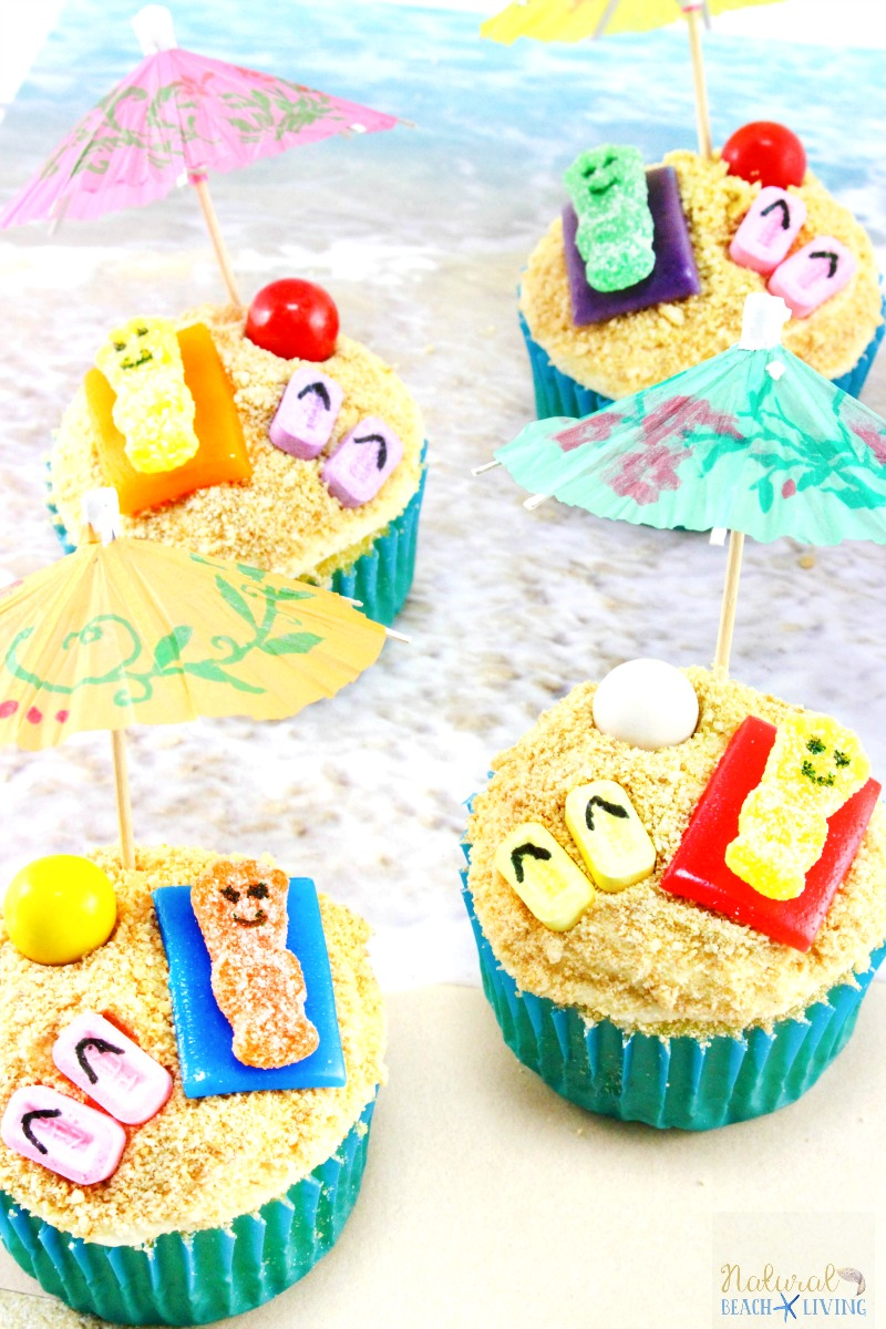 summer themed cupcakes beach day natural beach living