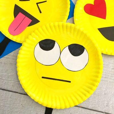 Super Cute Emoji Paper Plate Craft – Emotions Theme Party Prop