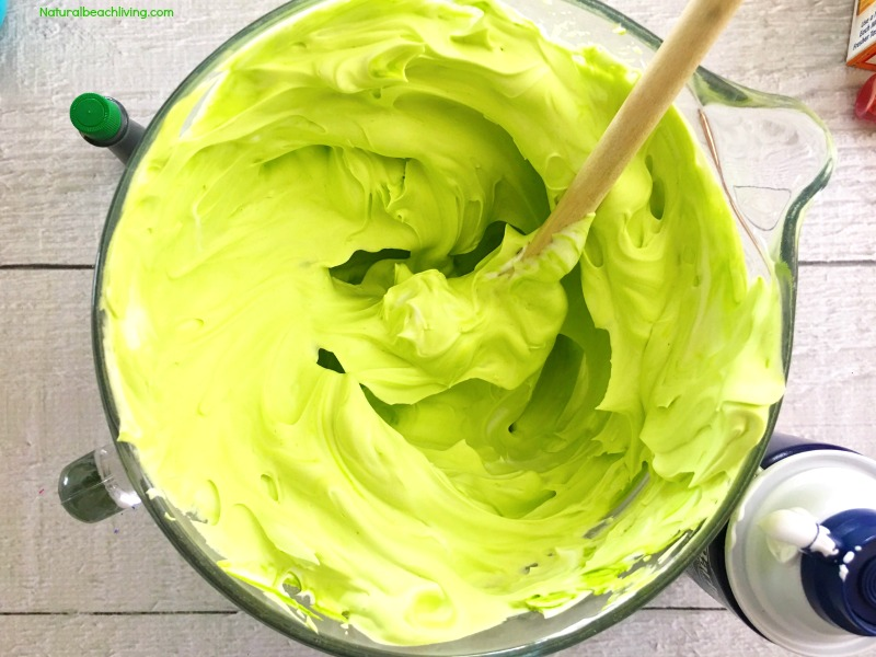 How to Make Frankenstein Fluffy Slime Recipe, Fluffy Slime recipe for any theme, DIY Fluffy Slime without Borax, Halloween Sensory Play, Jiggly Slime