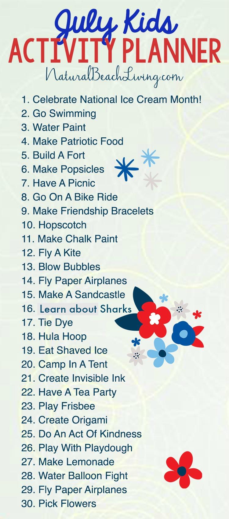 July Summer Activity Calendar Kids Love on Pinterest Ice Cream Activities