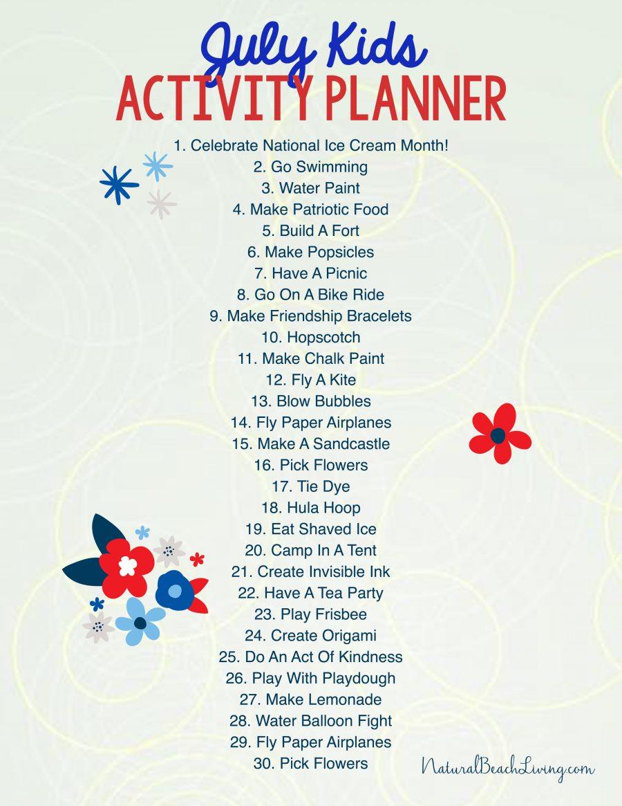 Free Summer Activity Calendar Kids Love