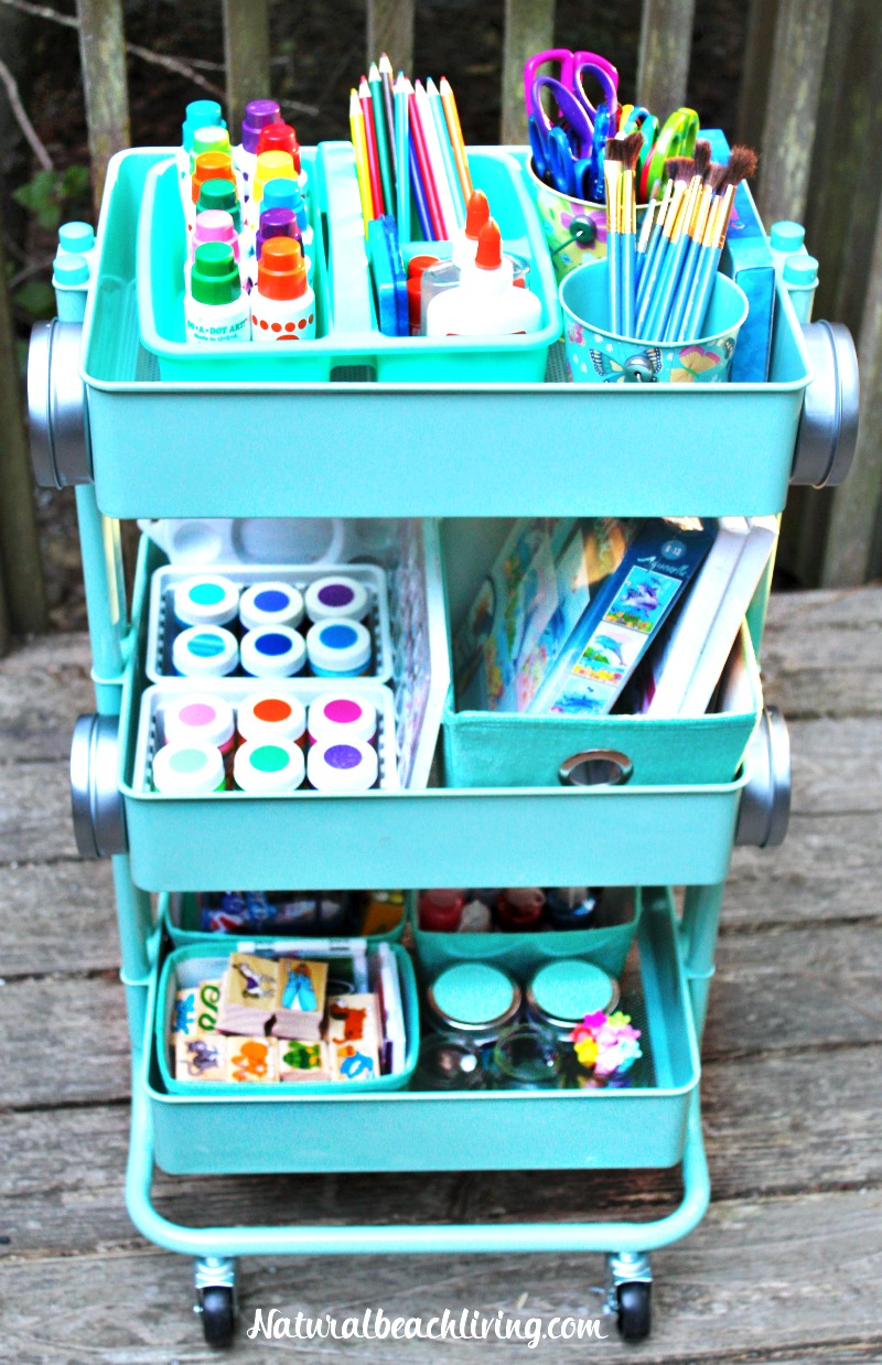 How to set up a kids arts crafts cart natural beach living for Arts and crafts sets for kids