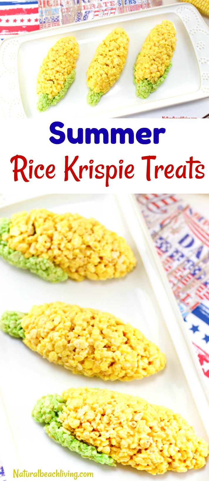 How to Make a Summer Rice Krispie Treat Recipe Everyone will Love, Corn on the Cob Rice Krispy treats, Summer Recipe, Easy Snack for Kids, Party food, YUM!