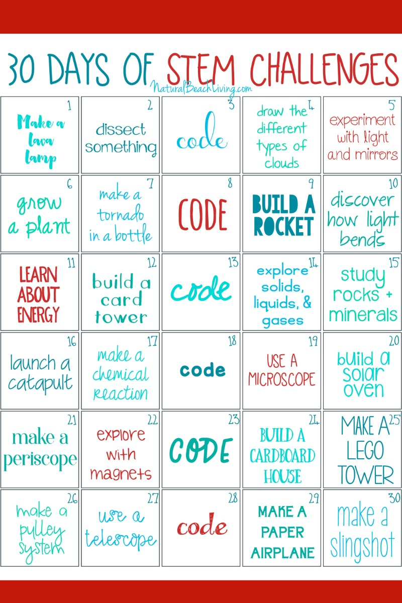 30 days of STEM Activities, STEM Challenges for Kids, Printable STEM activities for kids, STEM activities preschool, STEM Activities Elementary, Simple STEM
