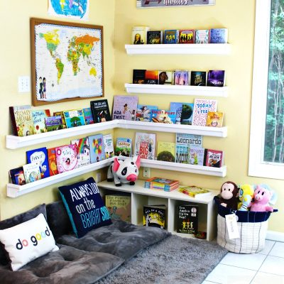 How to Set Up a Reading Nook Kids Love – Plus DIY Rain Gutter Bookshelf