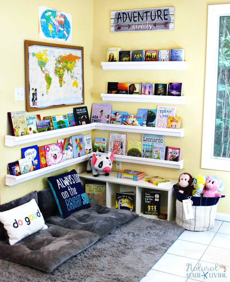 How to Set Up a Reading Nook Kids Love, Kids Reading Space, Rain Gutter Bookshelf, Reading Nook Classroom, Homeschool Room, Kids Reading corner, kids area