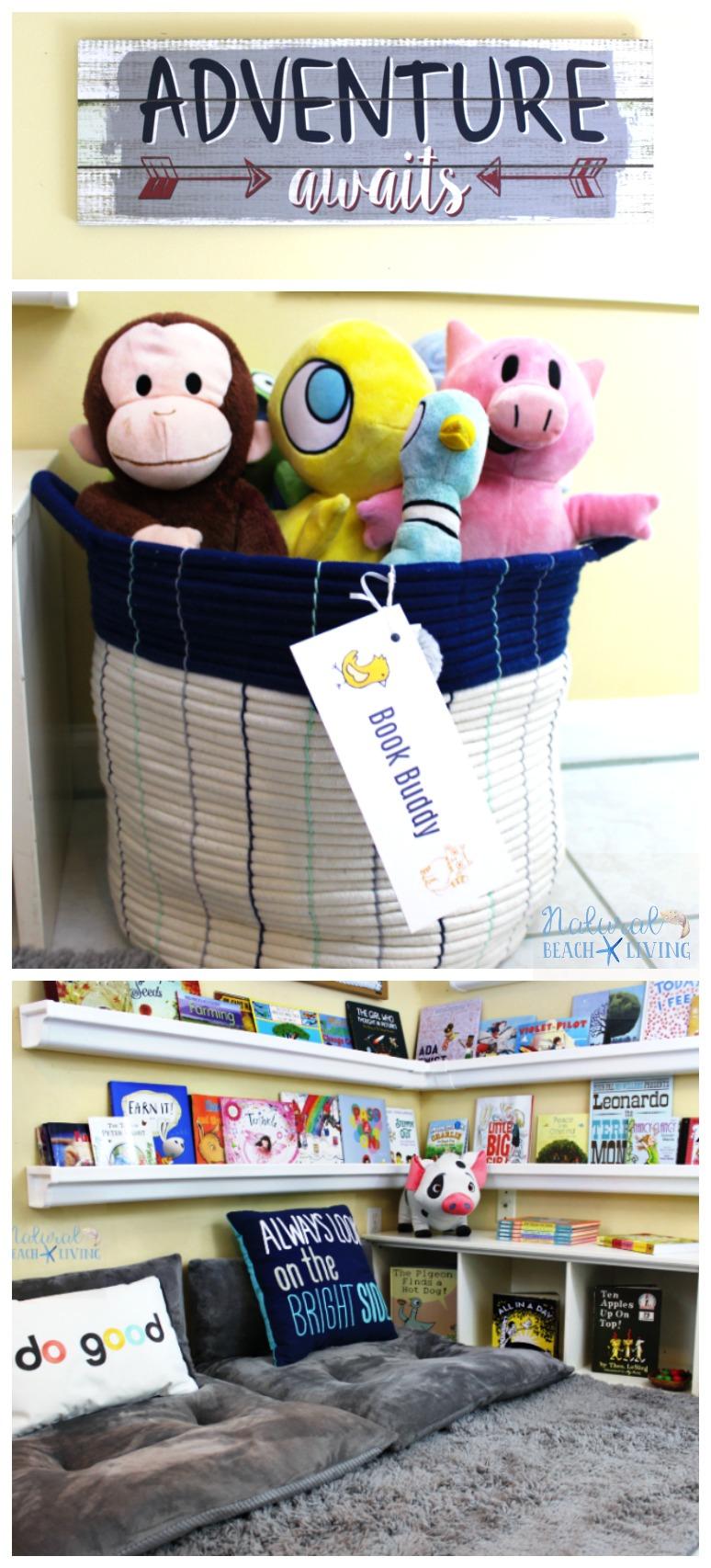 How to Set Up a Reading Nook Kids Love, Kids Reading Space, Rain Gutter Bookshelf, Reading Nook Classroom, Homeschool Room, Kids Reading corner, kids area
