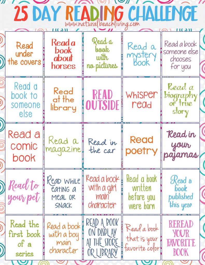 Perfect 25 Day Reading Challenge for Kids, kids reading activities, free printables reading challenge, Fun Book Ideas, Reading is important, Kids Books
