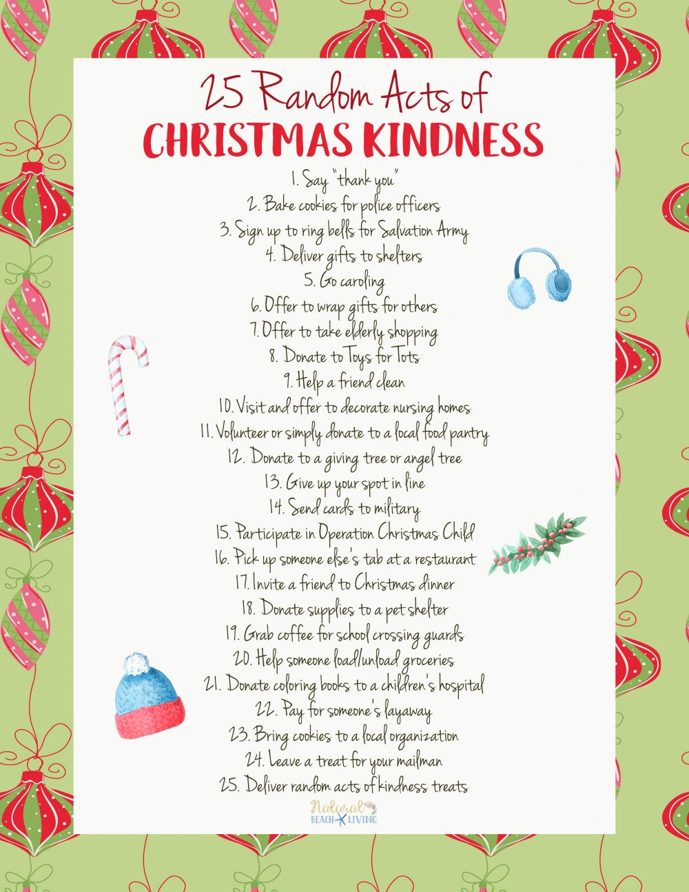 25 Random Acts of Christmas Kindness Printable - Natural Beach Living