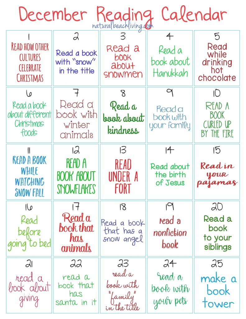 The Best Christmas Reading Challenge for Kids, 25 Days of Holiday Reading for Kids, Reading Challenge, Christmas Books, Advent ideas, Christmas Countdown, Free printable December Reading Challenge, #reading #read #readingchallenge #Christmasprintables #kidsbooks #readaloud