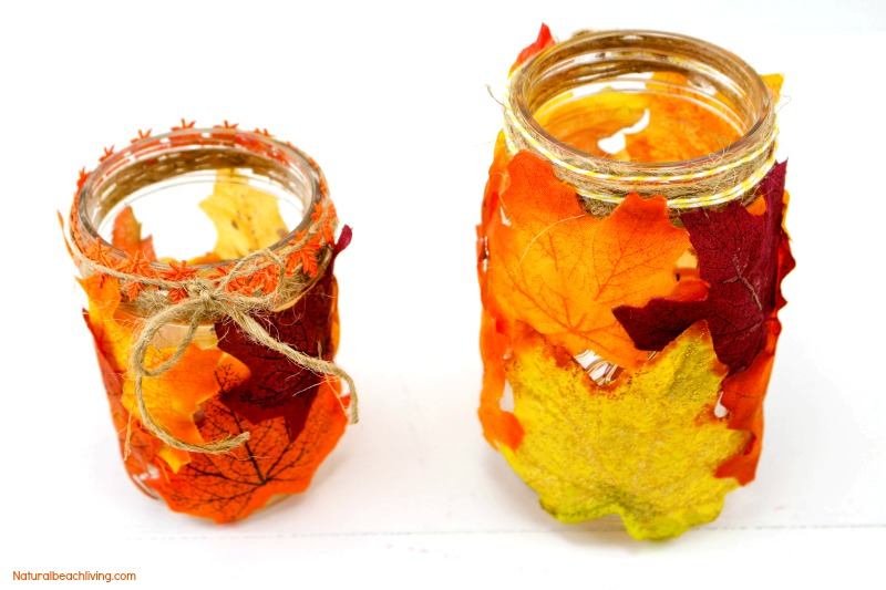 How to Make Easy Fall Leaf Candle Mason Jar Crafts, Easy DIY Fall Candle Jar, Fall Crafts for Kids, Fall Crafts for Adults, DIY Fall decor,Fun Leaves Crafts