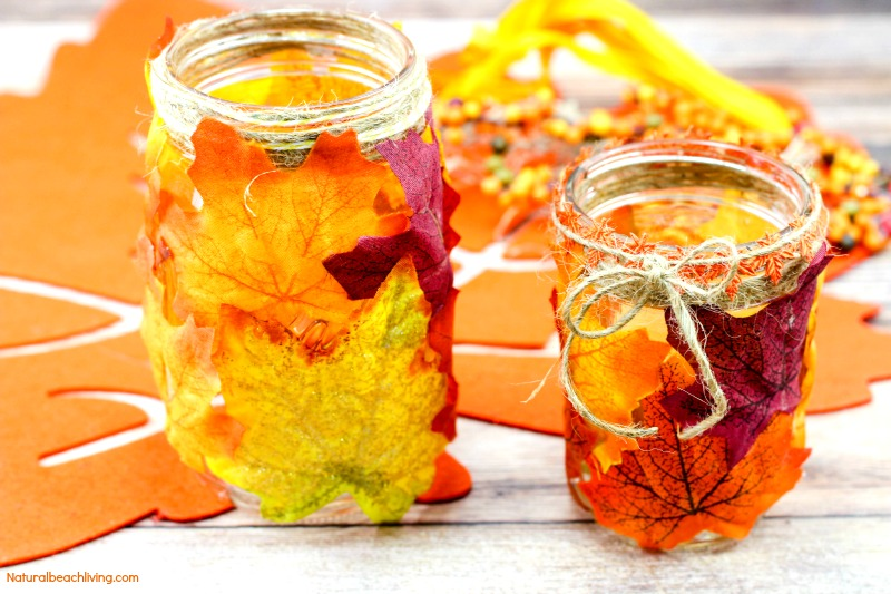 How to Make Easy Fall Leaf Candle Mason JarCrafts, Easy DIY Fall Candle Jar, Fall Crafts for Kids, Fall Crafts for Adults, DIY Fall decor,Fun Leaves Crafts