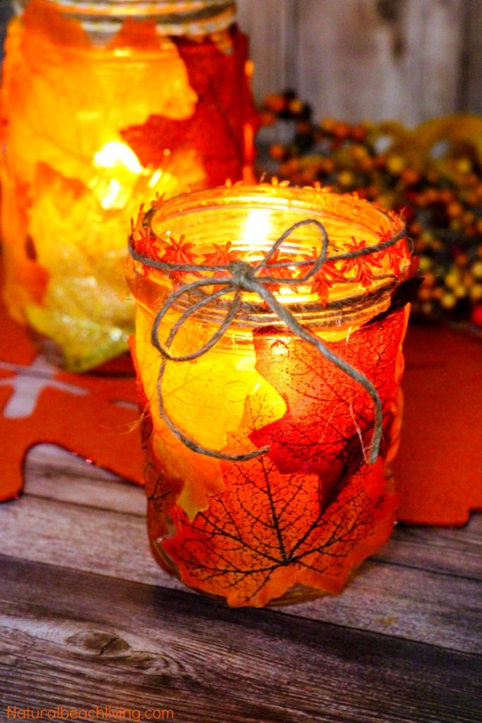 How to make fall leaf candle mason jar crafts natural for Mason jar candle crafts