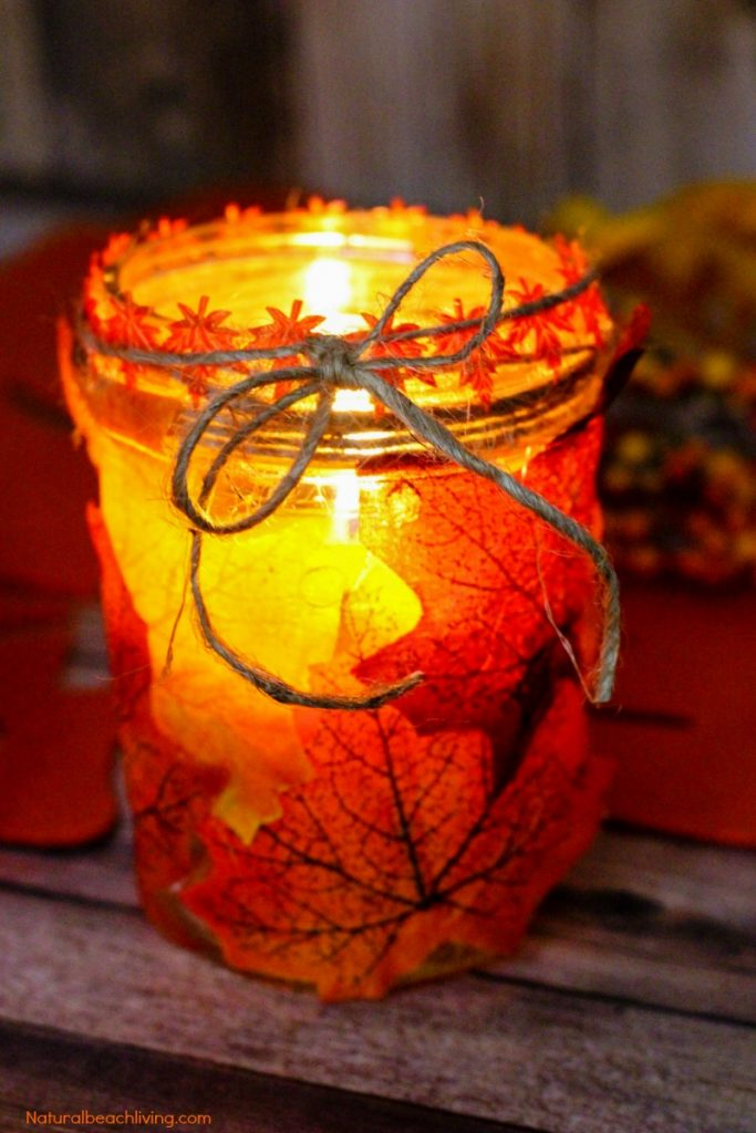 How to make fall leaf candle mason jar crafts natural for Leaf crafts for adults