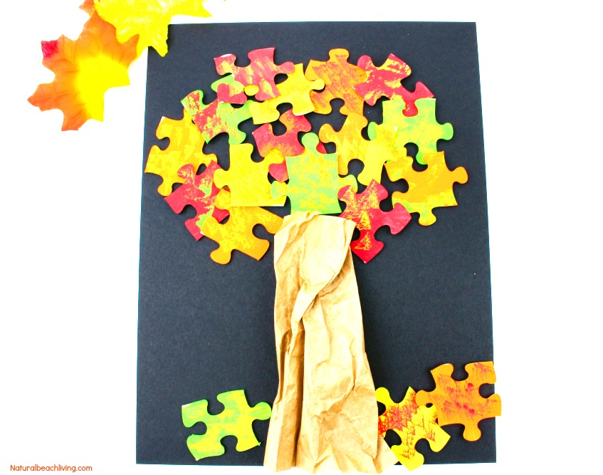 Fall Tree Craft, Fall Tree Puzzle Craft, Fall craft for preschoolers, Leaves theme, Fall Puzzle Tree with Painted leaves, Easy Fall Craft for Kids, Fall Crafts DIY