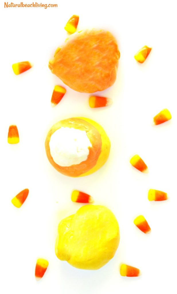 How to Make Thinking Putty, Candy Corn putty recipe, The Best Thinking Putty Recipe, Makes a great therapy putty, stress reliever, Fall sensory play, DIY thinking putty