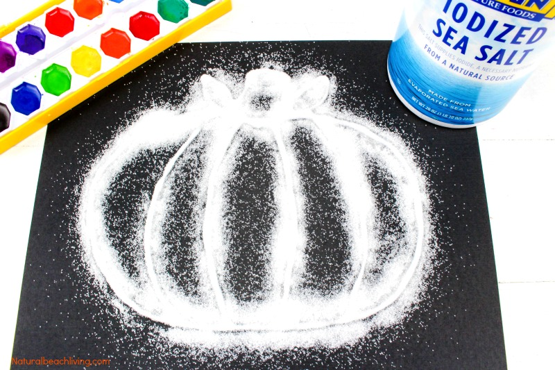 How to Make The Best Halloween Pumpkin Salt Painting, Watercolor Salt Painting for Preschoolers, Pumpkin Preschool Theme, Fun Fall Pumpkin craft kids love