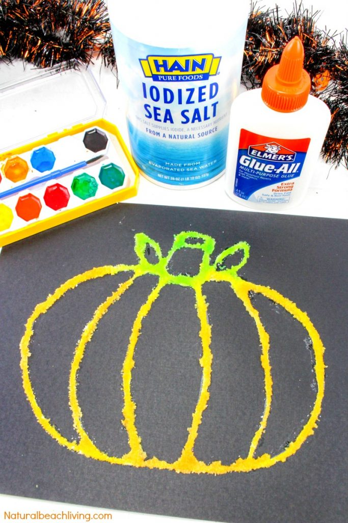 How to Make The Best Halloween Pumpkin Salt Painting, Watercolor Salt Painting for Preschoolers, Pumpkin Preschool Theme, Fun Fall Pumpkin craft kids love #pumpkincrafts #Halloween