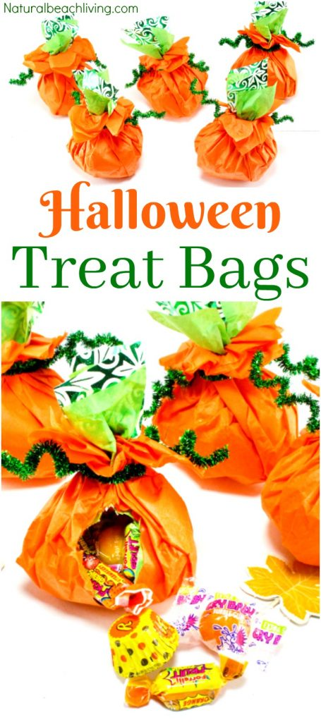 How to Make Tissue Paper Halloween Treat Bags, DIY Halloween Treat Bags, Easy Halloween favors, Halloween party ideas, Halloween Goody Bags, Pumpkin theme, Candy bags, Halloween ideas, #Halloween