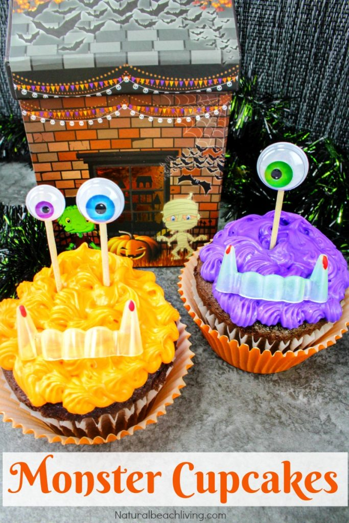 Easy to Make Halloween Monster Cupcakes, Monster Theme Snacks, Halloween Cupcakes for Kids, Halloween Party food, Halloween cupcake ideas that are yummy