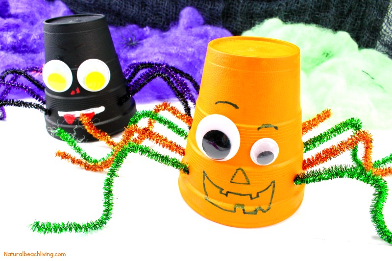 easy pumpkin and spider foam cup craft